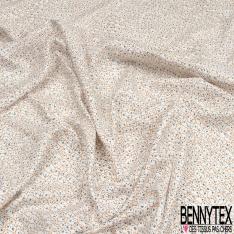 Fibrane viscose imprimé motif petits chats tracés Fond blanc cassé