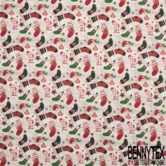 Coton imprimé digital motif chaussette de noël rouge et verte fond parquet