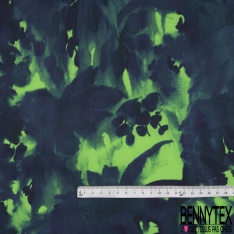Popeline Coton Imprimé Motif plantes Tropical fond Marine