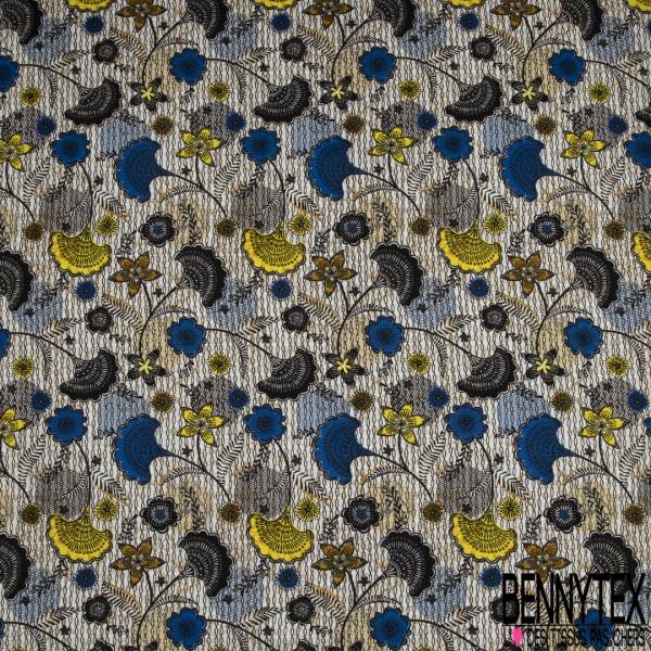 Popeline Coton Imprimé Motif fleurs de mariage Fond Blanc marbré et Fantaisie