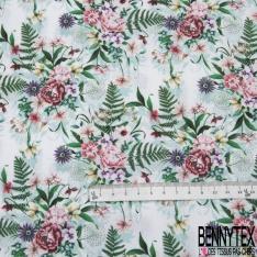 Coton imprimé digital motif floral multicolore fond blanc