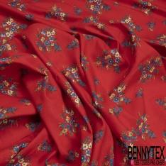 Toile Lin imprimé Motif floral fond Rouge