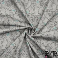 Coton imprimé digital motif ancien avec papillons bleus fond gris
