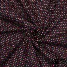 Coton imprimé digital motif petites bouches rouges et petits cœurs roses et verts Fond noir