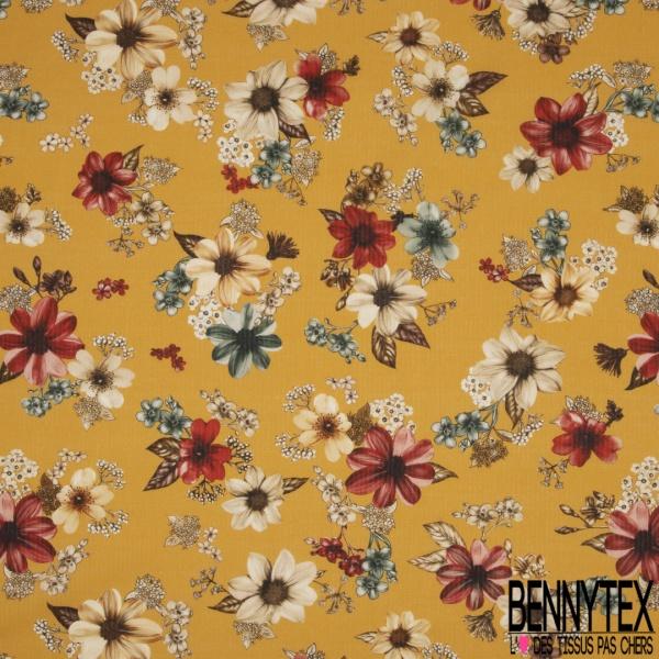 Voile de Coton Motif Floral Multicolore Fond Moutarde rayé