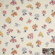 Voile de Coton Motif Floral Fond écru rayé