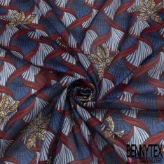 Voile de Coton Motif Floral ethnique Fond bleu