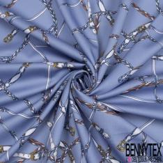 Voile de Coton Imprimé Satiné Motif fines Ceinture fond Bleu Pastel