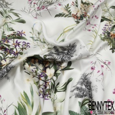 Fibrane Viscose Satiné Imprimé Floral fond Blanc