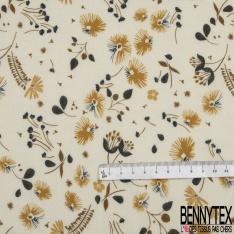 Fibrane Viscose Imprimé Floral ton Moutarde fond Blanc cassé
