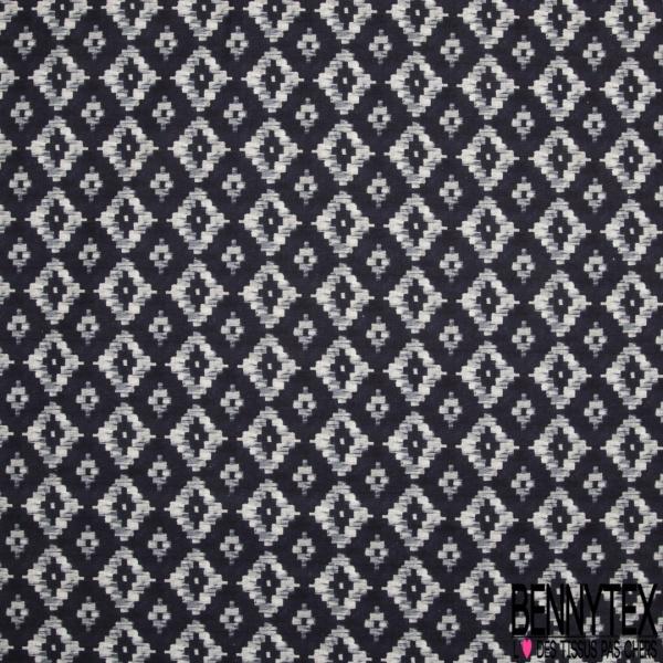 Coton imprimé digital motif losange pixel nuance de blanc et de gris Fond bleu marine
