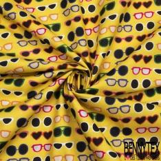 Coton imprimé digital motif lunette de soleil multicolore Fond jaune