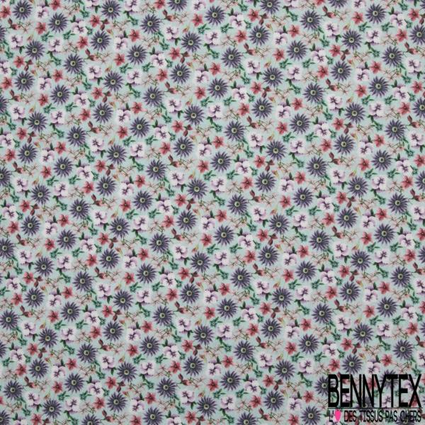 Coton imprimé digital motif floral violet corail rose et vert Fond vert d'eau