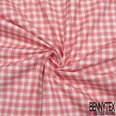 Coton imprimé digital motif vichy rose et blanc