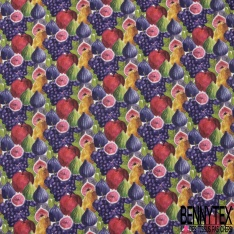 Coton imprimé digital motif fruits multicolores Fond blanc