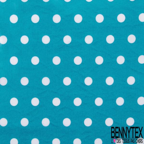 Coton Enduit Ciré Impression Pois Blanc fond Bleu turquoise profond