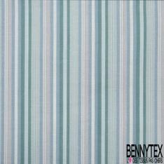 Coton imprimé digital motif rayures nuances de bleu et de vert