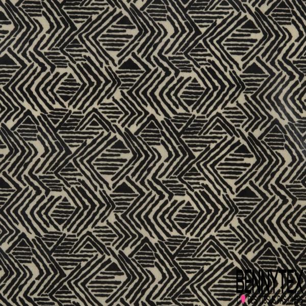 Coton Enduit Ciré Impression Motif Géometrique Abstrait Beige Choco
