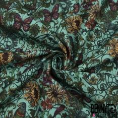 Coton imprimé digital motif oiseaux et papillons dans la nature Fond bleu tiffany