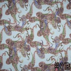 Popeline Coton Imprimé Motif Pesley Fond Bleu Pastel