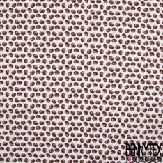 Coton imprimé digital motif châtaigne Fond blanc cassé