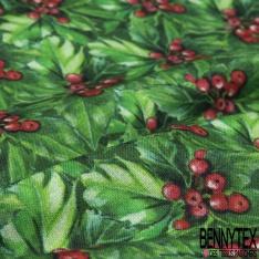Coton imprimé digital motif groseilles Fond feuillage vert
