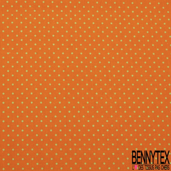 Coton imprimé digital motif pois vert Fond orange