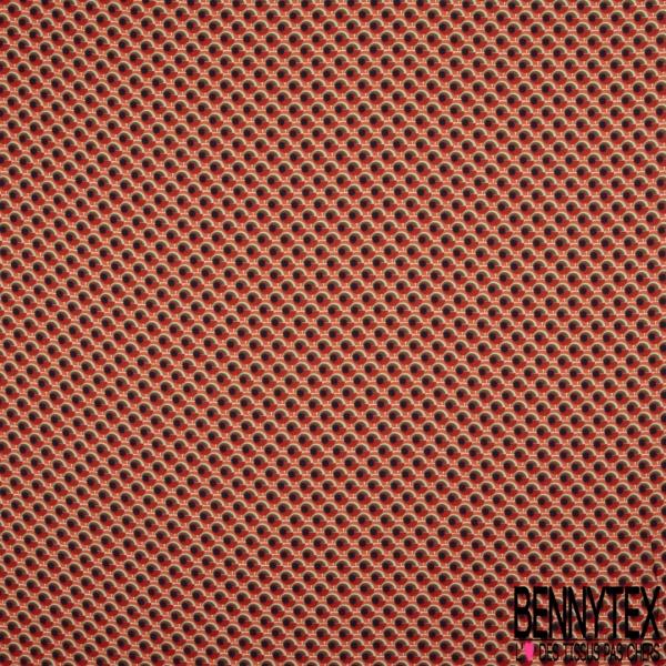 Satin Polyester Imprimé Oeuil naïve ton Rouge