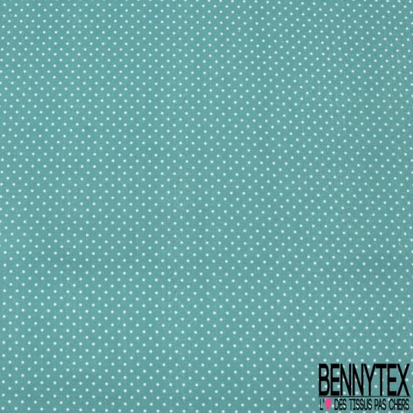 Coton imprimé digital motif pois blanc Fond bleu tiffany