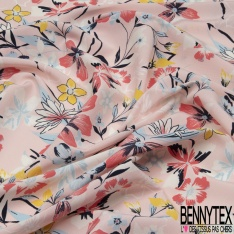 Crêpe Polyester Imprimé Floral fond Rose Clair