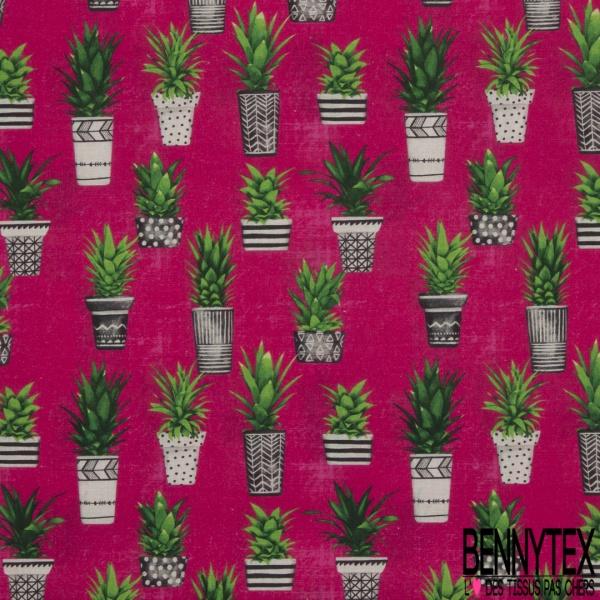 Coton imprimé digital motif pots de cactus Fond fuchsia