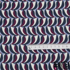 Crêpe Polyester Twill Satiné Imprimé Motif Abstrait fond Bleu Pastel