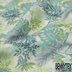Coton imprimé digital motif floral nuance de vert et de bleu Fond blanc cassé