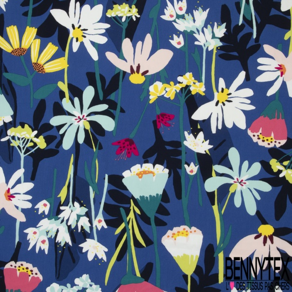 Popeline Coton Imprimé Motif Floral Fond bleu