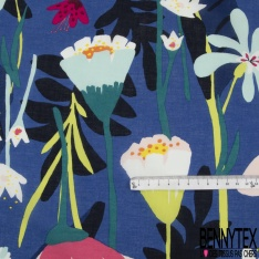 Voile de Coton Imprimé Floral fond Bleu