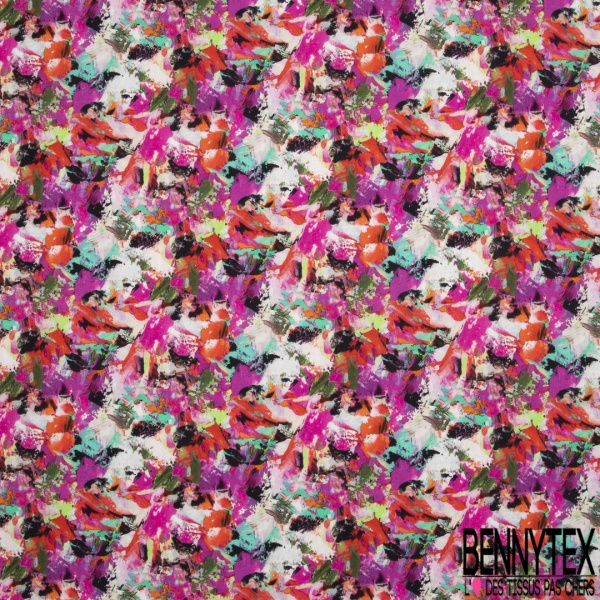 Coton imprimé digital motif peinture multicolore