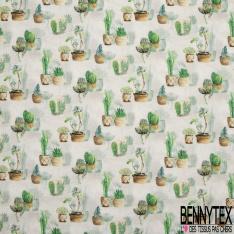 Coton imprimé digital motif opuntia et agave Fond naturel