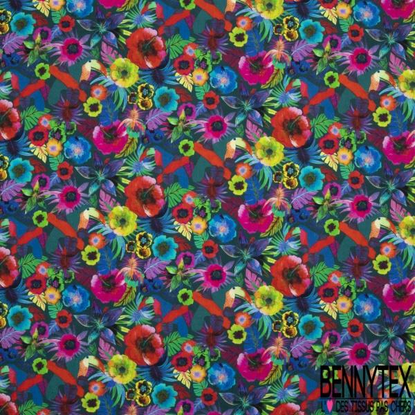 Coton imprimé digital motif cerrado multicolor