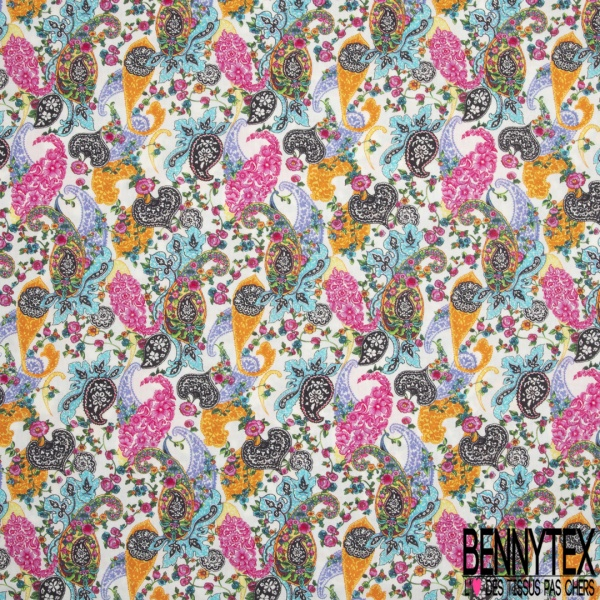 Coton imprimé digital motif french fantaisie paisley multicolor Fond blanc