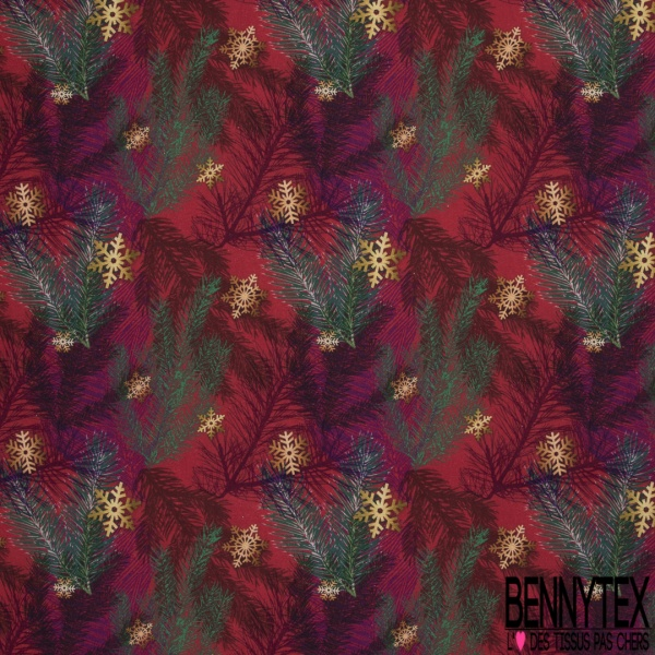 Coton imprimé digital motif epicea multicolore et Flocon or et bronze Fond rouge cramoisi