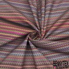 Coton imprimé digital motif rayure sombrero multicolore