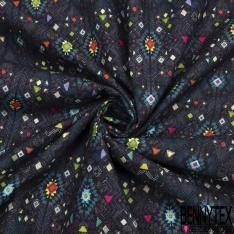 Coton imprimé digital motif caracas multicolore Fond bleu marine