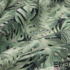 Coton imprimé digital motif exotic vert