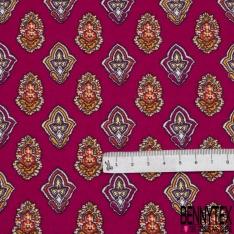 Coton imprimé motif provençale Fond fuchsia