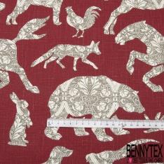 Toile Lin imprimé Motif animaux thème noël Fond lie de vin