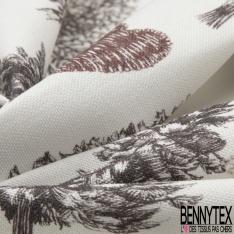Coton Toile Demi Natté Imprimé grosse feuille beige Fond taupe