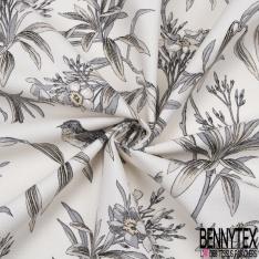 Coton Toile Demi Natté Imprimé oiseau tropical gris Fond blanc cassé