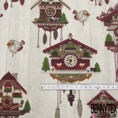 Gabardine Coton Imprimé horloge maison Fond gris chiné