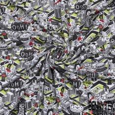 Jersey Coton Elastahanne Imprimé ville animée noir vert rouge Fond blanc