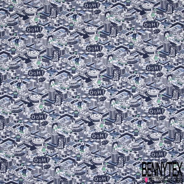Jersey Coton Elastahanne Imprimé ville animée nuance de bleue Fond blanc